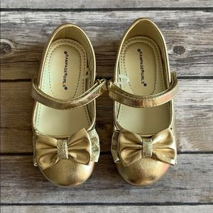 Rampage Girls Gold Toddler Shoes w/ Bow size 7M